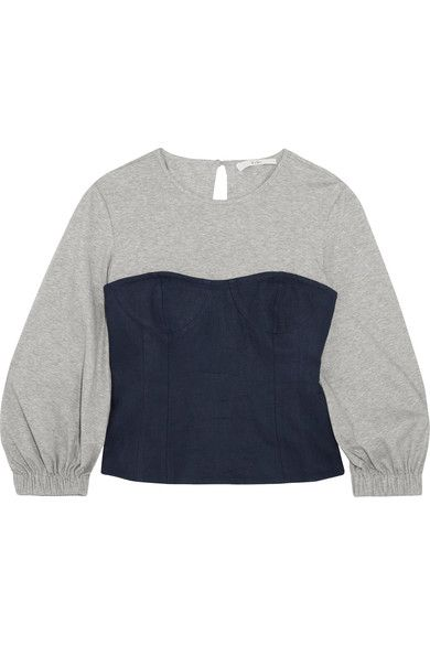 Tibi - Paneled Cotton-jersey And Linen Top - Gray - US12