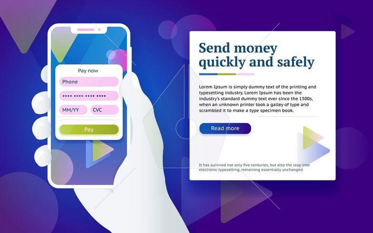 Credit card payment app. Money transfer design concept