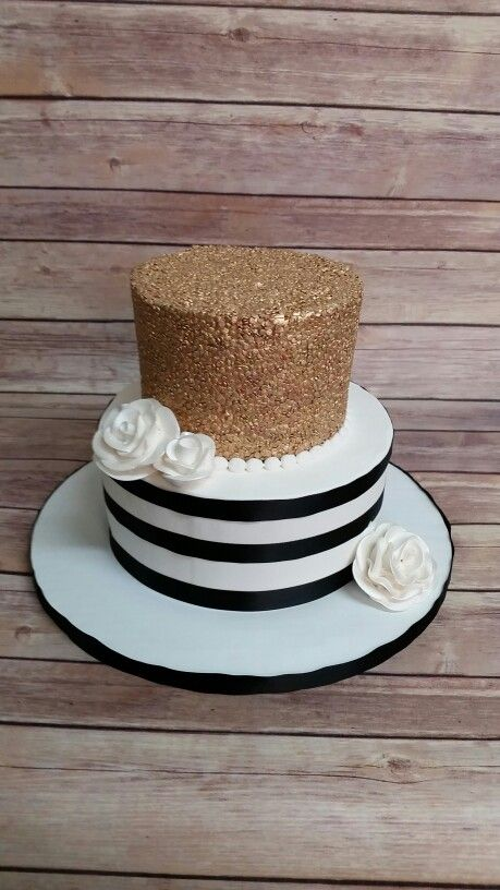 Gold sequins and black and white stripe cake, buttercream.