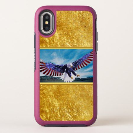 American flag Eagle flying in the sky gold foil tap/click to personalize or buy right now! a custom pink otterbox case for any brand or style #baldeagles #patrioticdesigns #Americanflag #4thOfJuly