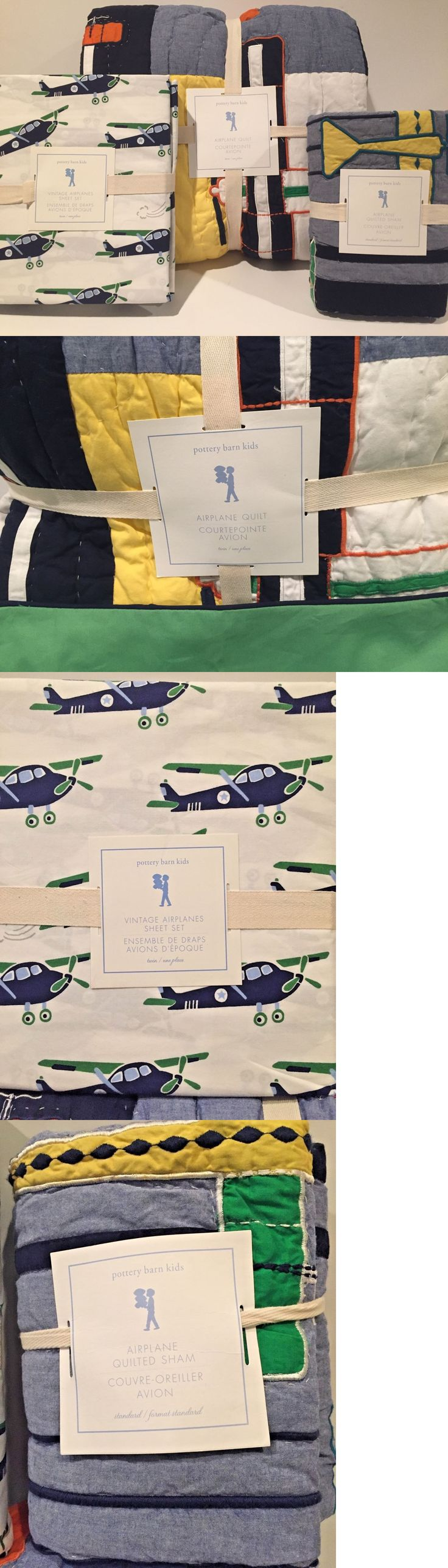 Kids at Home: New Pottery Barn Kids 6Pc Airplane Twin Quilt Std And Euro Shams Vintage Sheet Set BUY IT NOW ONLY: $239.95