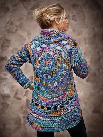 """Perfect for a night out, this lovely jacket will keep the chill off. Made using Universal Yarn Classic Shades Frenzy worsted- #4 weight yarn. Bust size: S/M 43"""" (L/XL 48"""", 2XL/3XL 53""""). Design uses 5 (7, 8) balls of yarn.  Skill Level: Easy  http://www.maggiescrochet.com/products/harbour-lights-circle-jacket"""