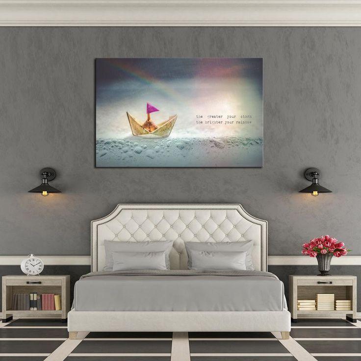 living room art prints%0A   Piece Framed Success  u     Huddle Canvas Prints    Piece Canvas  Storm Rainbow Analogy