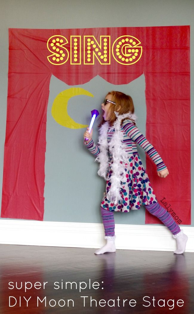Awesome Sing Movie Activity for kids! Use this Dollar Store Hack to make your own crazy easy Moon Theatre Stage Set - non-marking DIY Static cling. Must-have for any Sing Movie themed birthday party!