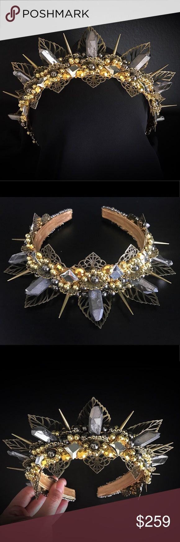 Gold & silver festival crown halo, spikes crystals Brand new, handmade, & one of a kind! Perfect for Burning Man, cosplay & festivals! Whisper Party Accessories Hair Accessories