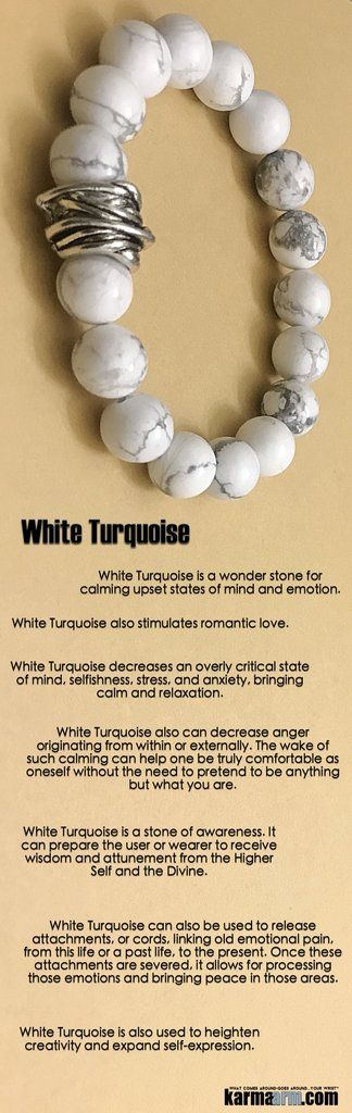 #BEADED #Yoga #BRACELETS ♛ #White #Turquoise is a stone of awareness. It can prepare the wearer to receive #wisdom. It also stimulates #romantic #love. #Chakra #gifts #Stretch #mens #Womens #jewelry #Eckhart #Tolle #Crystals #Energy #gifts #Handmade #Hea http://kundaliniyogameditation.com/
