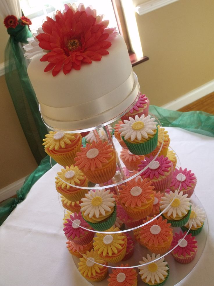 Gerbera Daisy wedding cupcakes - great for a garden wedding. Laura of Genii Cupcakes is so creative.