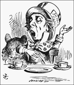 "The Hatter as depicted by Sir John Tenniel, reciting his nonsensical poem, ""Twinkle, Twinkle, Little Bat"""