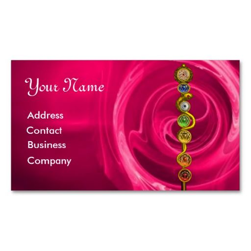 Rod Of Asclepius With 7 Chakras Spiritual Energy Business Card Templates Massage Pinterest And