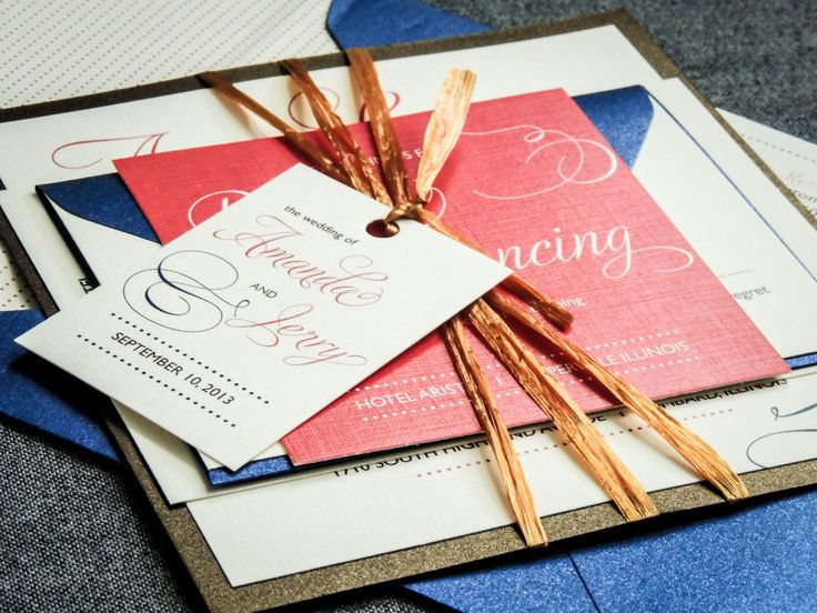 Coral And Navy Wedding Invitations Elegant By JulieHananDesign