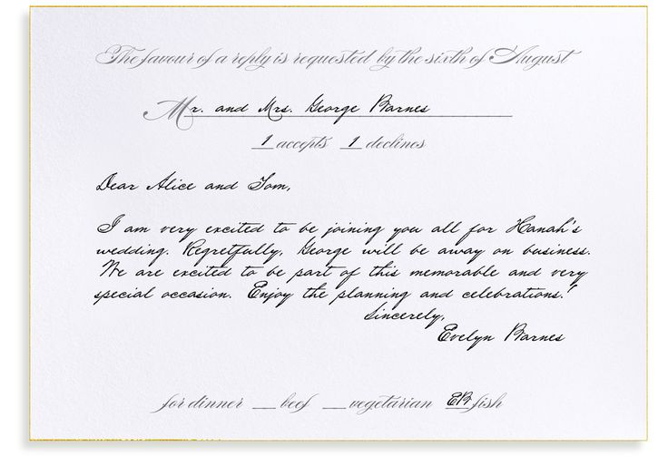 Rsvp To Wedding Invitation Wording: How To Fill Out A Formal RSVP Card