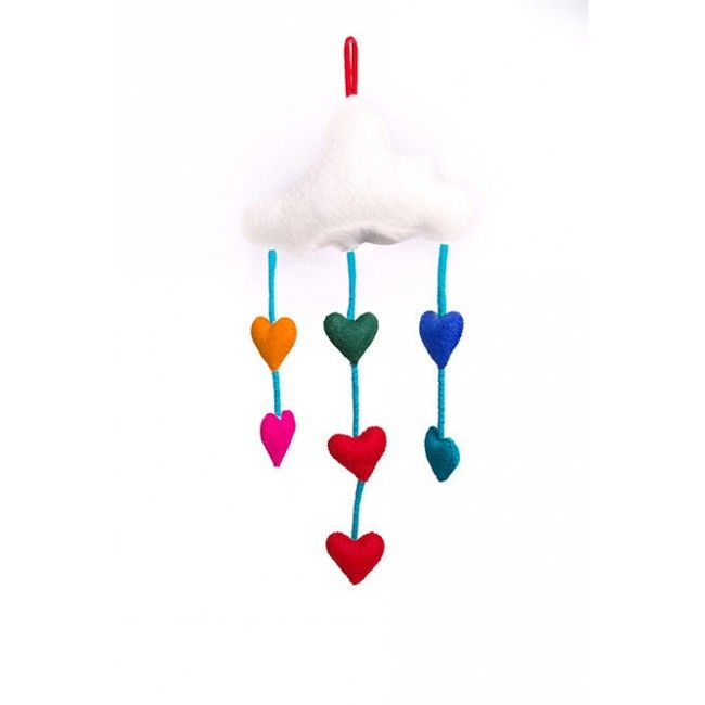 We're in love with this felt cloud mobile; the rainbow love hearts are just adorable. Hand-made from NZ wool, it's a gorgeous addition to any room. #nicnac #felt #mobile #entropytoys