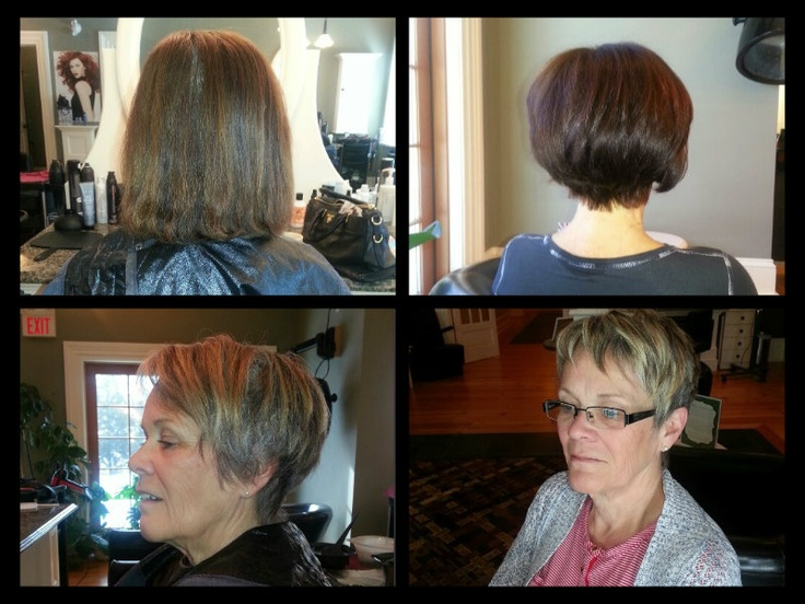 top:  bounce infused wedge cut a new length and darkening up the color for a vibrant, shine bottom:  short cut with blonde highlights, great look for the spring