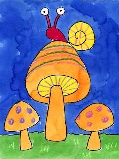 Try just one mushroom with rain coming down. Black crayon and water color. For when they read Mushroom in the rain K