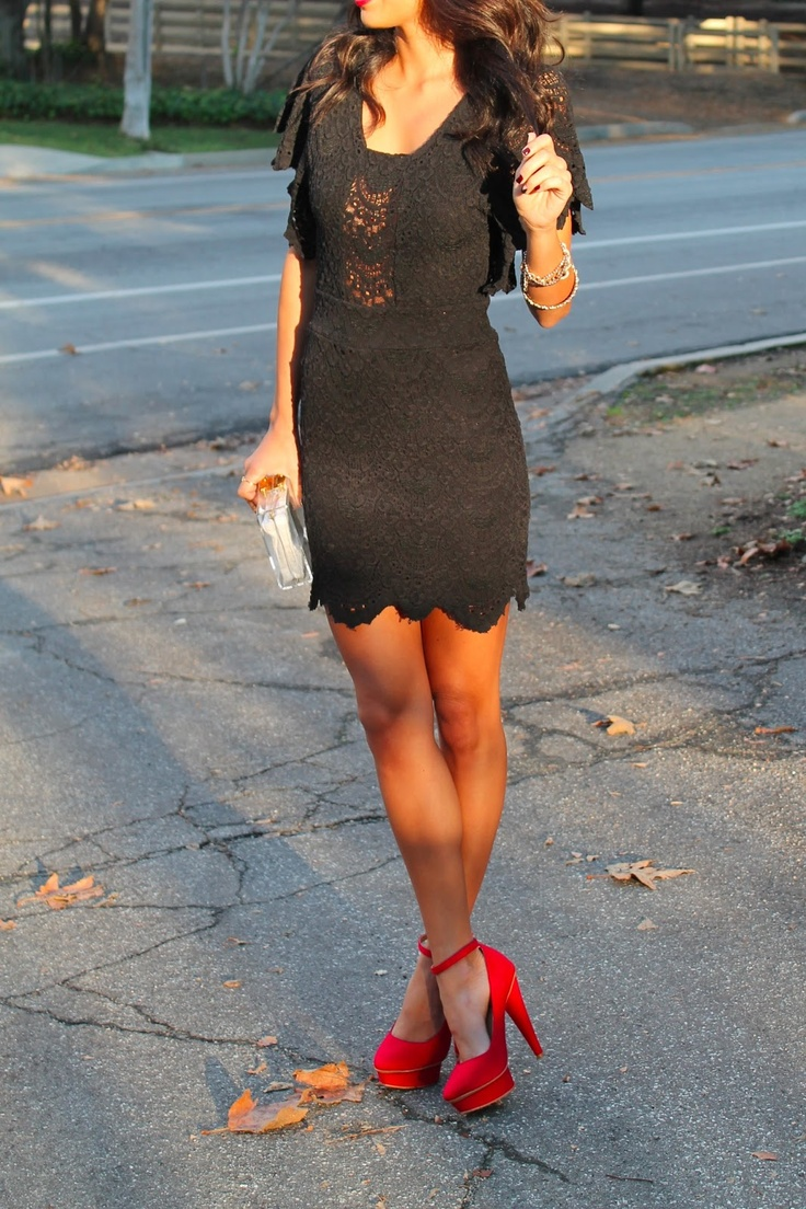 Black dress red heels accessories - Find This Pin And More On Black Black Lace Dress Red Pumps