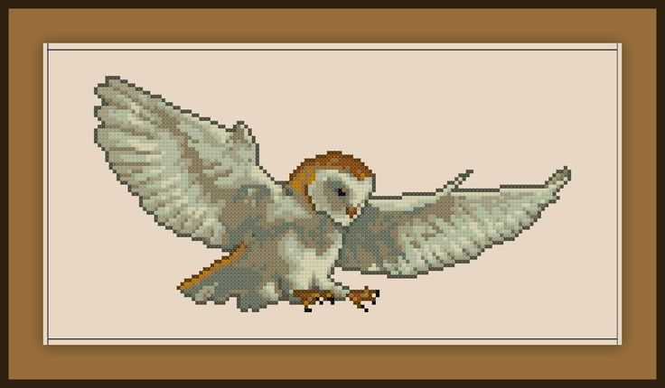 Barn Owl Cross Stitch Pattern Realistic Bird by SpriteStitches on Etsy