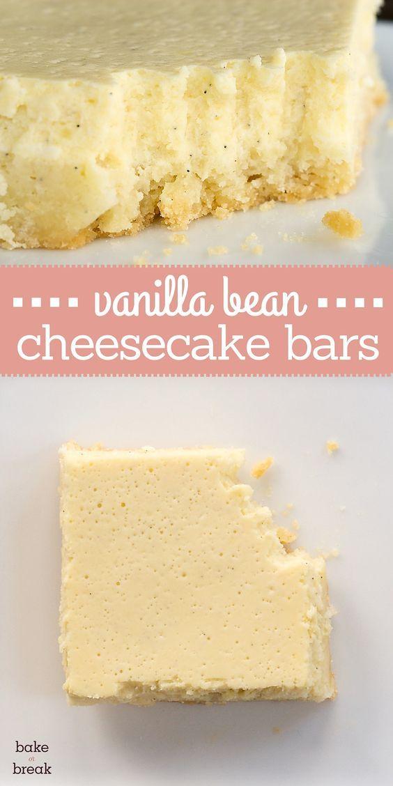 Vanilla Bean Cheesecake Bars are subtly sweet and full of vanilla flavor. ~ http://www.bakeorbreak.com