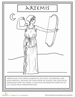 This wild woman, Artemis, is the Greek Goddess of the Hunt. Your child can learn all about her with this fun coloring page.