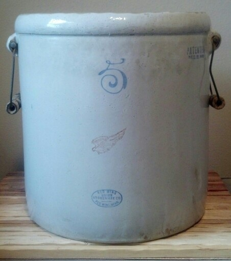 5 Gallon Red Wing Stoneware Crock with handles                              …