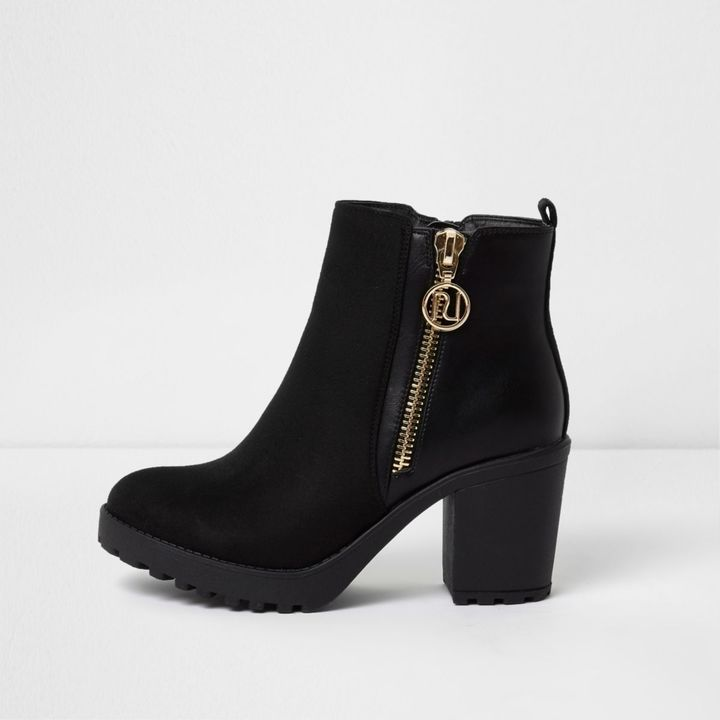 River Island Womens Black side zip chunky ankle boots £42