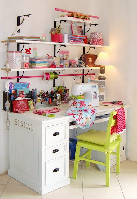 I would LOVE a little setup like this...I could use the desk for sewing, scrapbooking, OR writing.