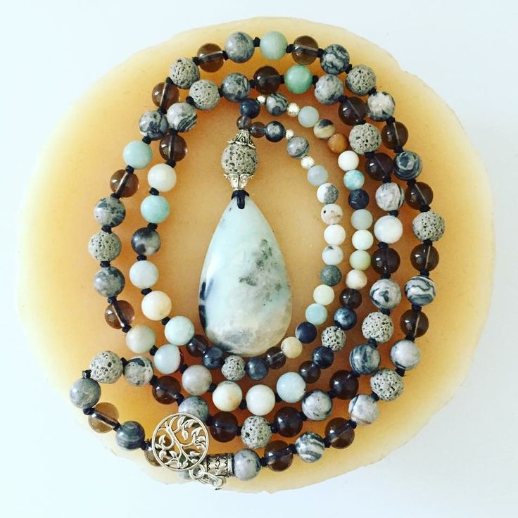 """108 bead hand-knotted Mala STONES: Raw Matte Amazonite, Smokey Quartz, White Picture Jasper, Labradorite and Grey Lava Rock 6 and 8mm beads   ~Aromatherapy Compatible~ Hangs at almost 20"""""""