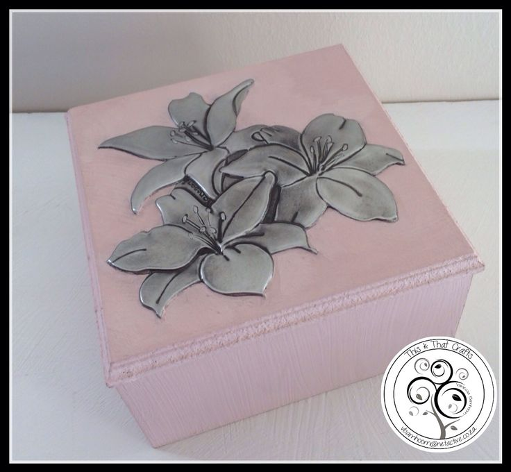 Pewter Lilies on Light Pink Wooden Box