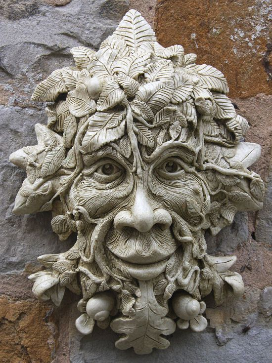 Garden Ornaments : Green Man Garden Ornaments : Stone Garden Ornament 'Meredith Tree Man' I think this could be scaled down in polymer as a pin or pendant