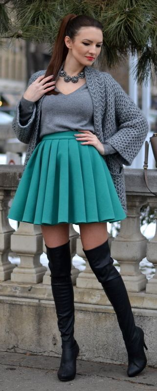 Shades of Grey | Green Pleated Skirt | Black Over The Knee Boots | My Silk Fairytale
