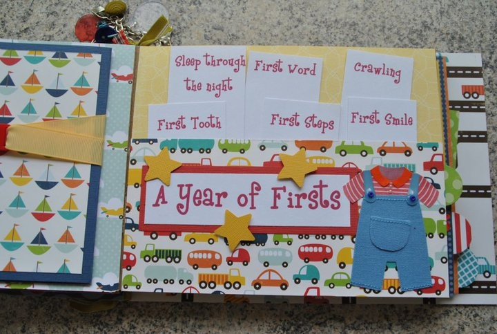 A Year of Firsts Page.  Pull outs to Journal about all the Firsts in Your Babies Life.    baby boy handmade paper bag album   #scrapbooking  #scrapbook  #paperbagalbum  #paperpiecing #baby  #babyboy  #handmade