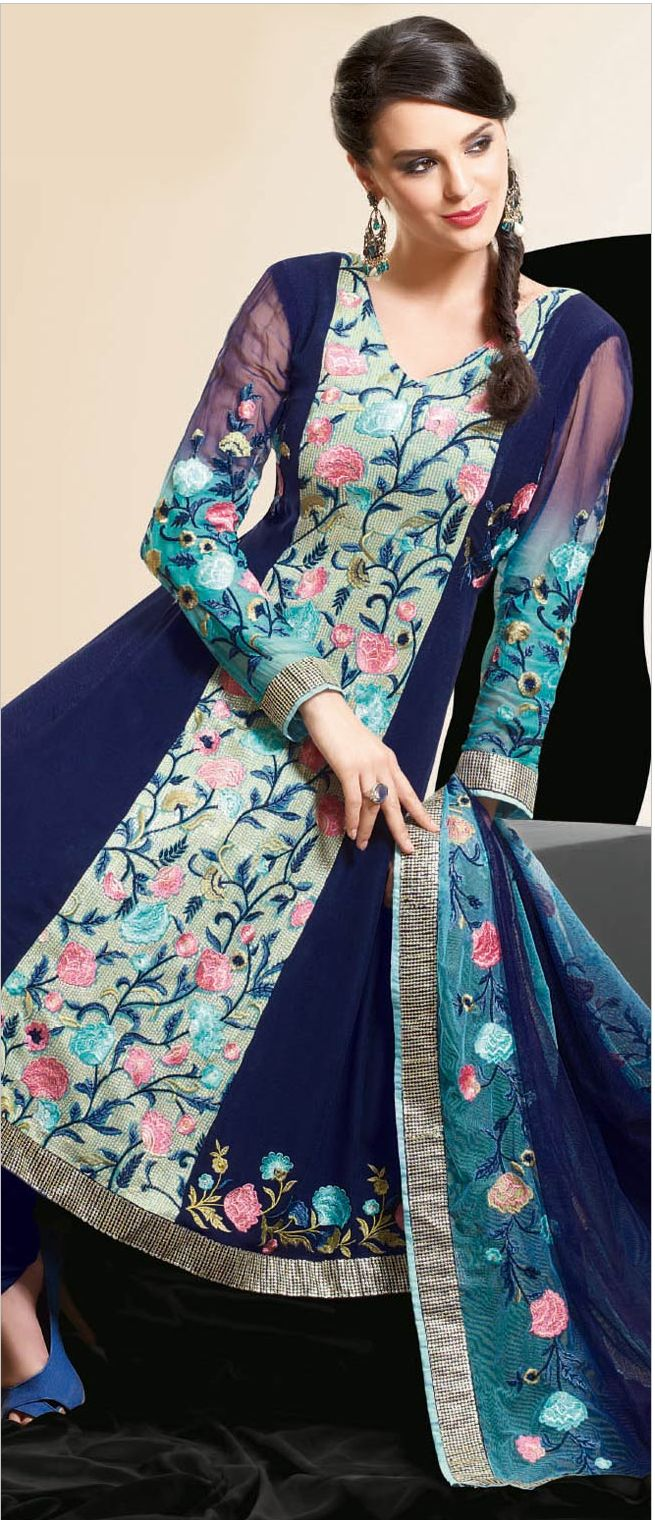 #Navy #Blue Faux Georgette #Churidar Kameez @ $113.26