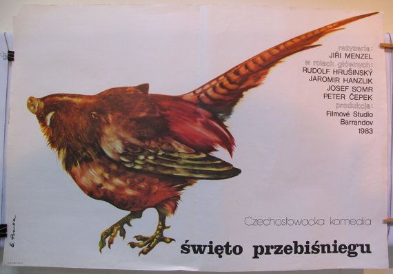 The Snowdrop Festival. Original Polish poster for the famous Czechoslovak (1983) film by Jiri Menzel. Poster by Elzbieta Procka
