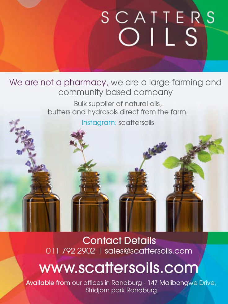 Scatter Oils  We are not a pharmacy, we are a large farming and community based company. Bulk supplier of natural oils, butters and hydrosols direct from the farm.  www.scatteroils.com