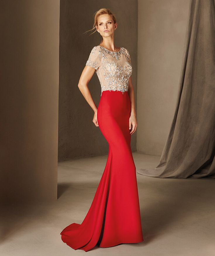 Bona - Cocktail dress with a bateau neckline in tulle and gemstones