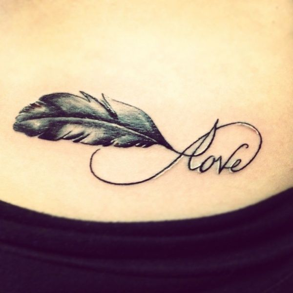 Beautiful Infinity Love Feather Tattoos |