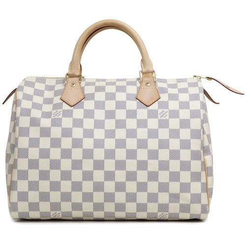 """Authentic Louis Vuitton Damier Azur Speedy 30  CONDITION: Very good. Light markings on vachetta handles and trim. Light markings on interior lining.  Material: Canvas Color: Azur Date Code: DU4170 Exterior Features: Rolled leather top handles, zipped top opening, gold tone hardware Interior Features: Beige fabric lining, open pocket, D ring Measurements: 12"""" x 8.75"""" x 7"""" Included: Louis Vuitton dust pouch, lock & keys SKU: HA02092"""