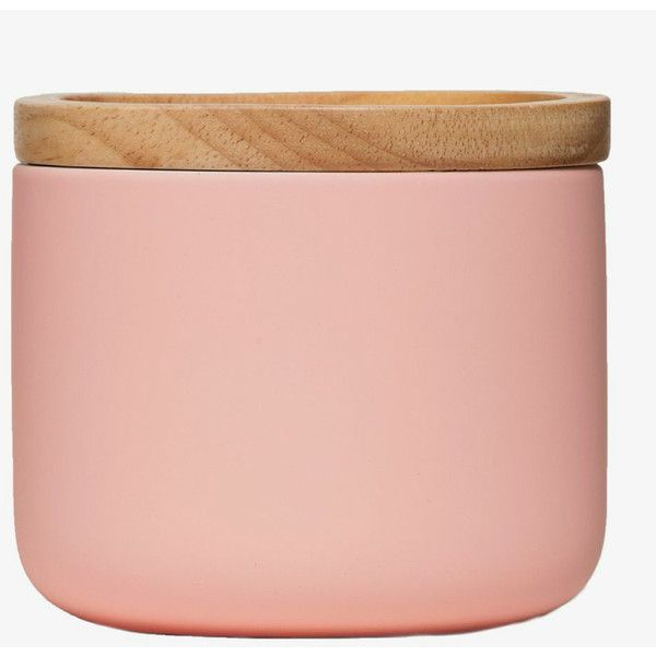 General Eclectic Small Canister - Matt Pink (35 BRL) ❤ liked on Polyvore featuring home, kitchen & dining, food storage containers, storage canisters, ceramic food storage containers, ceramic storage canisters and ceramic canisters