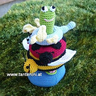 These plushy amigurumi stacking toys make a great baby shower gift. (Lion Brand Yarn)