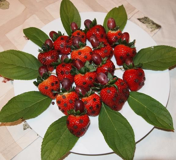 """ladybug food party - strawberries with chocolate spots (use piped frosting or mini choco chips) and grapes for heads.  I'll line the plate with peppermint leaves! yay another great """"non-cake"""" idea"""