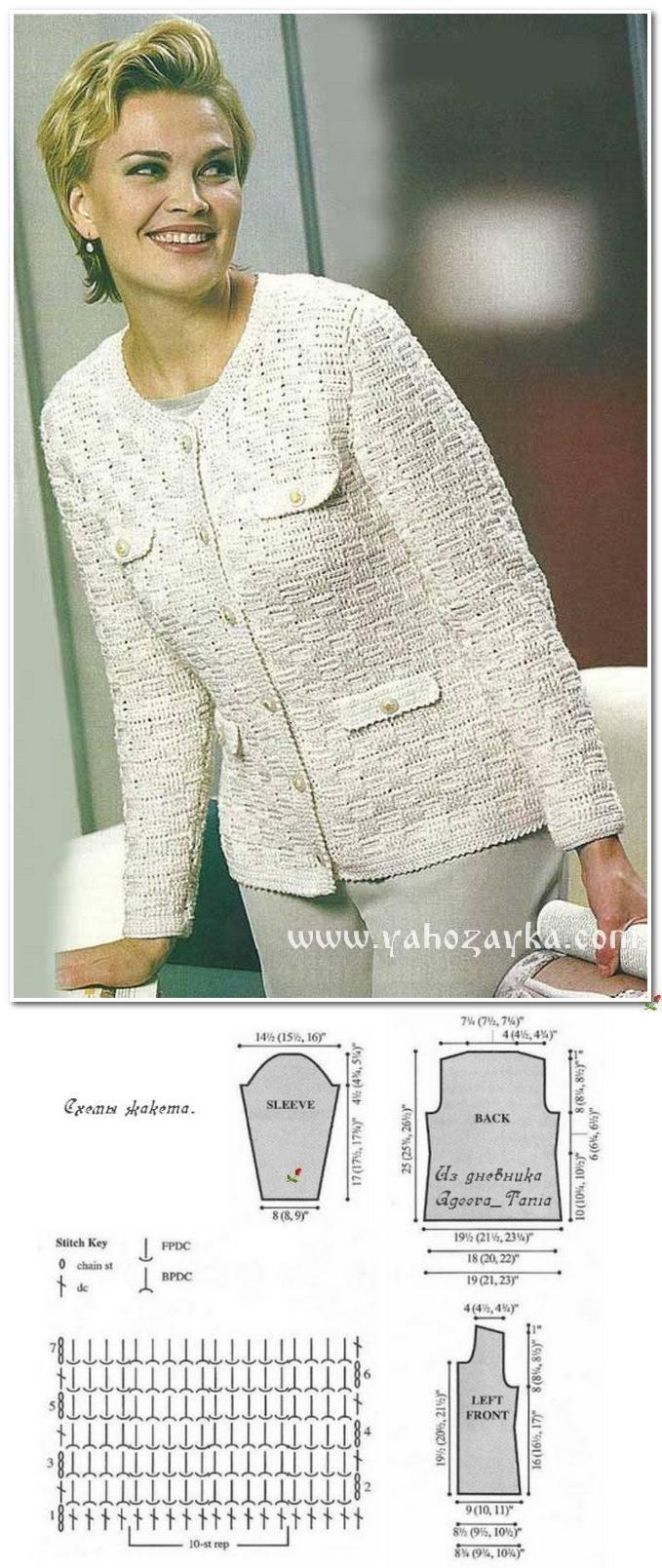 Favolosa giacca bianca stile Chanel all'uncinetto, con punti in rilievo.
