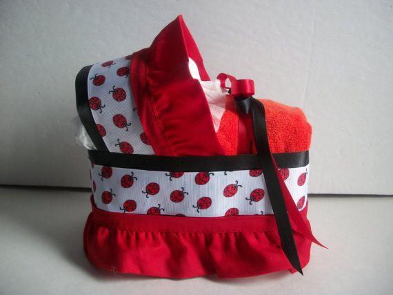 Ladybug black red neutral boy girl diaper bassinet baby shower gift table decoration centerpiece via Etsy