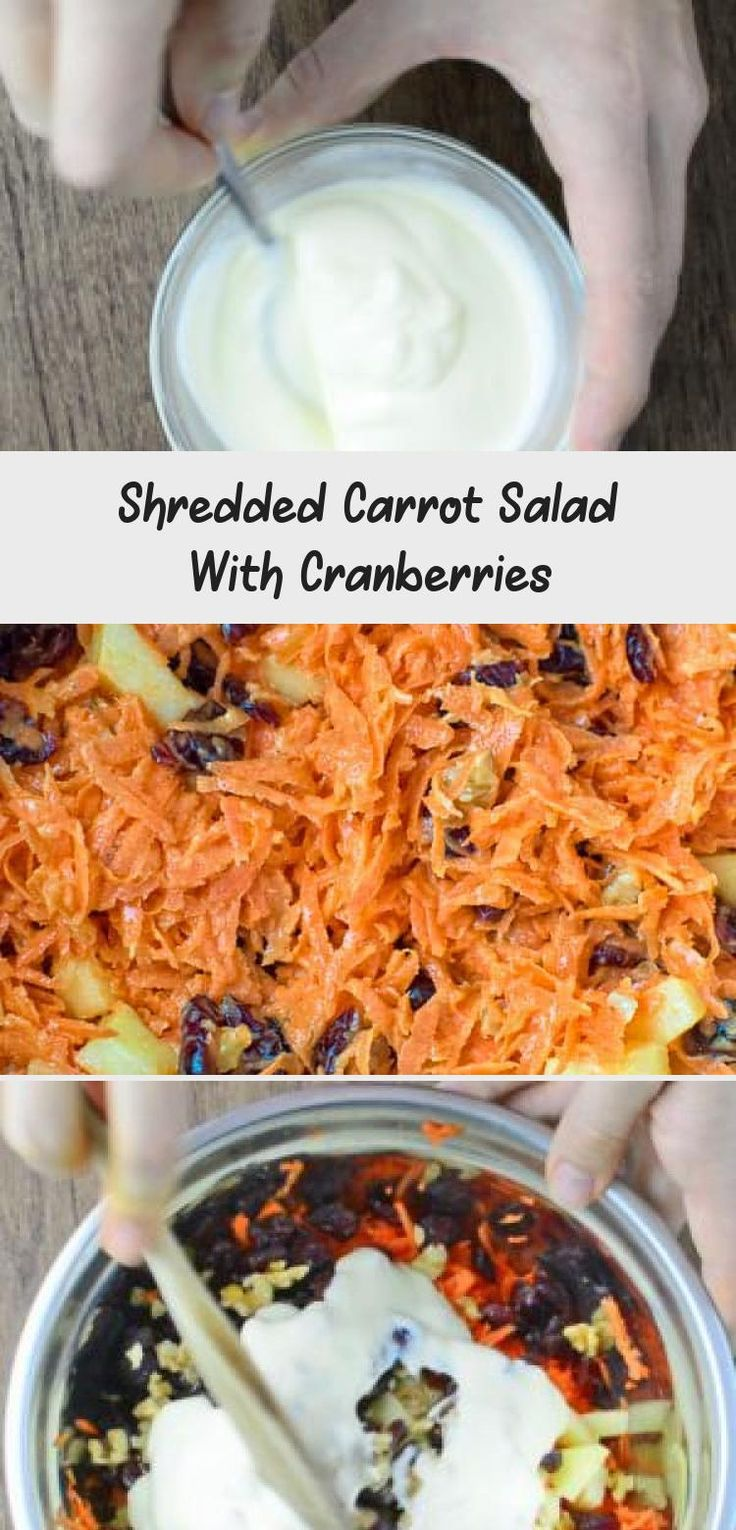This easy-to-make, flavorful, and healthy Shredded Carrot Salad — packed with cranberries, apples, and toasted walnuts — is loved by both kids and adults! #carrot #salad #cranberries #walnuts #apples #recipeoftheday #lunch #cooktoria #saladrecipesLowCalorie #Mexicansaladrecipes #Easysaladrecipes #Summersaladrecipes #Fallsaladrecipes