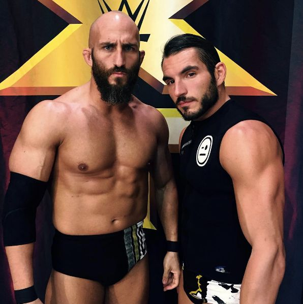 Tommaso Ciampa and Johnny Gargano, former NXT TagTeam Champions. They also participated, and fought against each other, in the CWC 2016. They split up in May 2017.