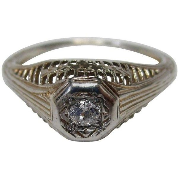 Preowned Art Deco Diamond White Gold Filigree Ring, Circa 1920 ($850) ❤ liked on Polyvore featuring jewelry, rings, engagement rings, white, white gold diamond rings, pre owned diamond rings, diamond rings, art deco diamond rings and white gold rings