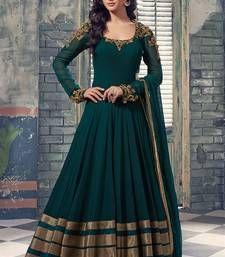 Buy Dark Green georgette Lace Work anarkali Salwar with dupatta Online