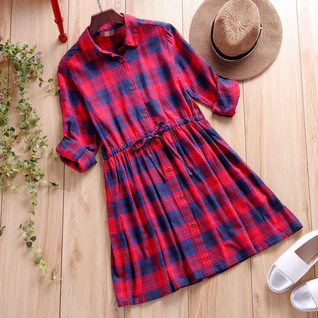 Style japonais Mori fille à manches longues Vintage chemise à carreaux robes 2016 nouveau printemps femmes Casual lâche grande taille robe robes