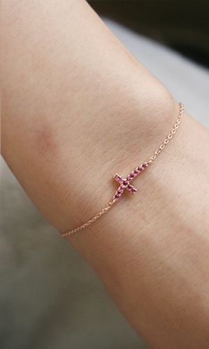 Ruby Swarovski Curved Sideways Cross Bracelet Rose Gold on kellinsilver.com