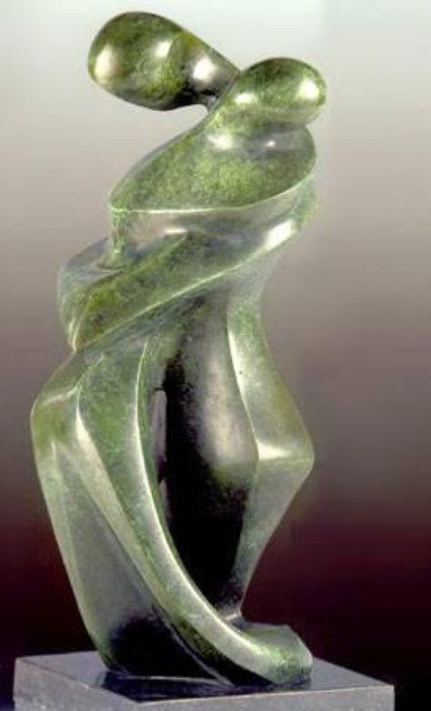 #Bronze #sculpture by #sculptor Akiva Huber titled: 'Lovers (Modern abstract Embracing Lovers sculptures)'. #AkivaHuber