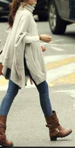 Nice Soft Autumn look. The beige wool is greenish, the jeans are good, boots and bag good.