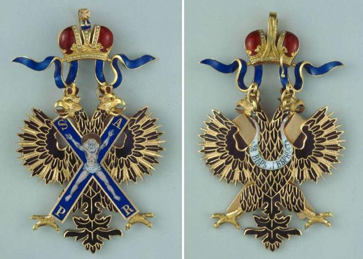 Badge for the Order of St. Andrew the First Called, Imperial Russia's highest ranking order. Obverse (left) and reverse.